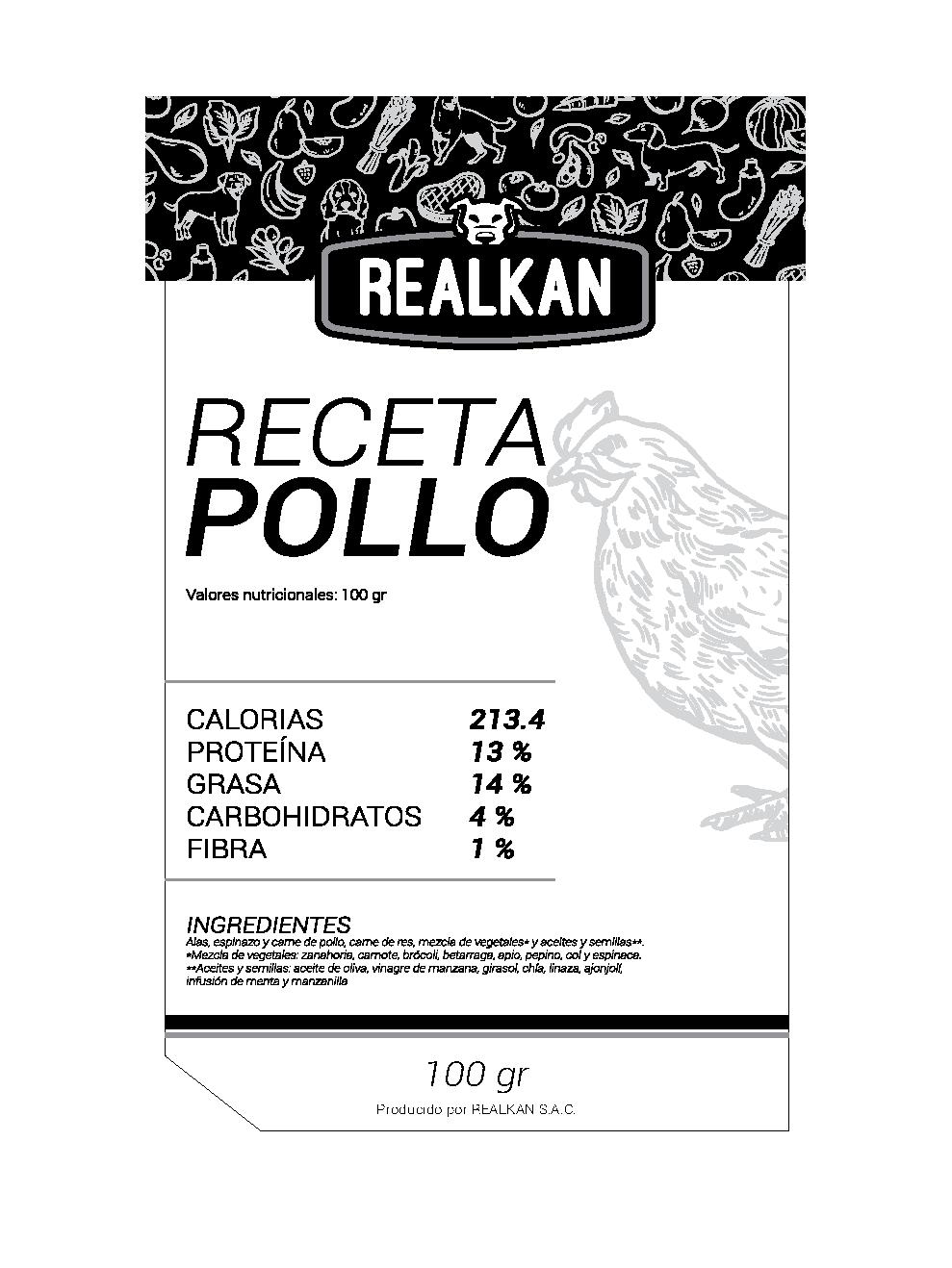 RECETA DE POLLO: alas,espinazo y carne de pollo, carne de res, mezcla de vegetales* y aceites y semillas**.*Mezcla de vegetales: zanahoria, camote, brócoli, betarraga, apio, pepino, coly espinaca. **Aceites y semillas: aceite de oliva, vinagre de manzana, girasol, chía, linaza, ajonjolí, infusión de menta y manzanilla. No solo les encanta si no que cubre todas las necesidades.