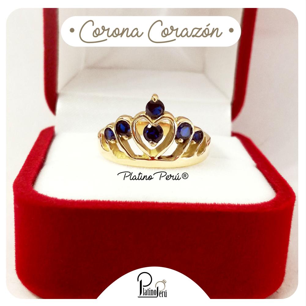 115ce49bb5a9 Anillo de Corona Corazón en Plata Enchapada en Oro 18K