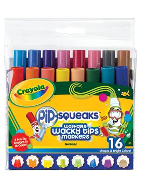 Rendimiento y calidad Realmente lavables No tóxicos      Descripción    16 plumones Pip-Squeaks con 8 trazos diferentes para que puedas hacer más divertidos tus dibujos.
