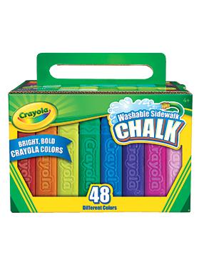 Rendimiento y calidad No tóxico      Descripción    Crea grandes obras de arte con las tizas brillantes Crayola®. No se deslizan, fácil de limpiar. Incluye: 48 tizas para vereda