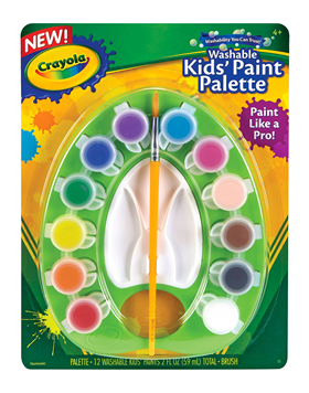 Rendimiento y calidad Realmente lavables No tóxicos      Descripción    Pinta como un experto con la nueva paleta de pinturas. Incluye: 1 paleta, 12 témperas y 1 pincel.