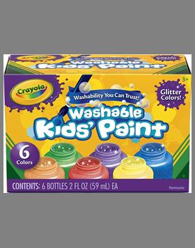 Rendimiento y calidad Realmente lavables No tóxicos      Descripción    Para niños de 3 años a más. Incluye:6 frascos de 2 oz. con témperas con efecto glitter.