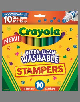 Rendimiento y calidad Realmente lavables No tóxicos      Descripción    Plumones lables 2 en 1. Pueden utilizarse como plumones o como sellos individuales. 10 diseños diferentes.