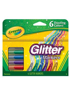 Rendimiento y calidad No tóxicos      Descripción    Plumones con efecto glitter. Incluyen 6 plumones en colores: plata, oro, rojo, verde, azul y morado.