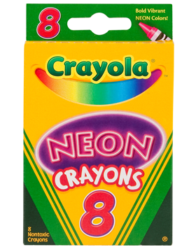 Rendimiento y calidad Realmente lavables No tóxicos      Descripción    8 crayones estándar con colores neón.