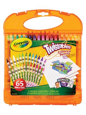 Rendimiento y Calidad Realmente lavables No tóxicos      Descripción    Set de 25 lápices de colores twistables con 40 hojas en blanco para dibujar. Recomendado para niños de 4 años a más.