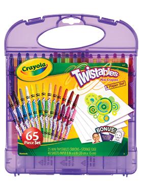 Rendimiento y calidad Realmente lavables No tóxicos      Descripción    Set de 25 crayones mini twistables con 40 hojas en blanco para dibujar. Recomendado para niños de 4 años a más.