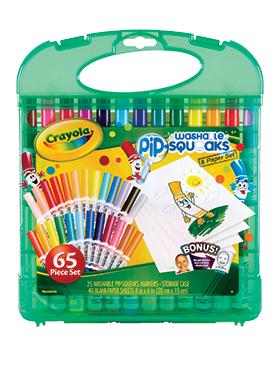 Rendimiento y calidad Realmente lavables No tóxicos      Descripción    Set de 25 marcadores pip-squeaks con 40 hojas en blanco para dibujar. Recomendado para niños de 4 años a más.  Incluye la posibilidad para transformar fotos en dibujitos animados para colorear.