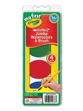 Rendimiento y calidad Realmente lavables No tóxicos      Descripción    Incluye 4 colores de acuarelas jumbo y un pincel. Recomendado para niños de 3 años a más.