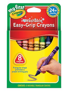 Rendimiento y calidad Realmente lavables No tóxicos      Descripción    Crayones triangulares con grip para mejor agarre para niños de 24 meses a más. Incluye: 8 crayones de diferentes colores.