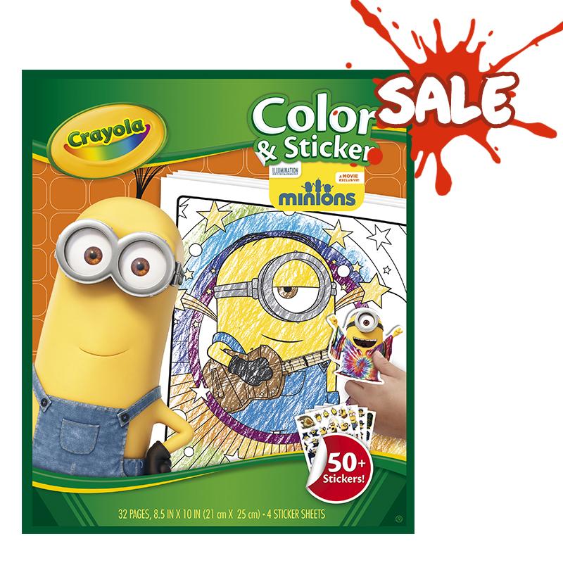 Rendimiento y calidad No tóxicos      Descripción    Libro para colorear y stickers con imagenes de minions. Contiene:32 hojas para colorear y4 páginas de stickers.