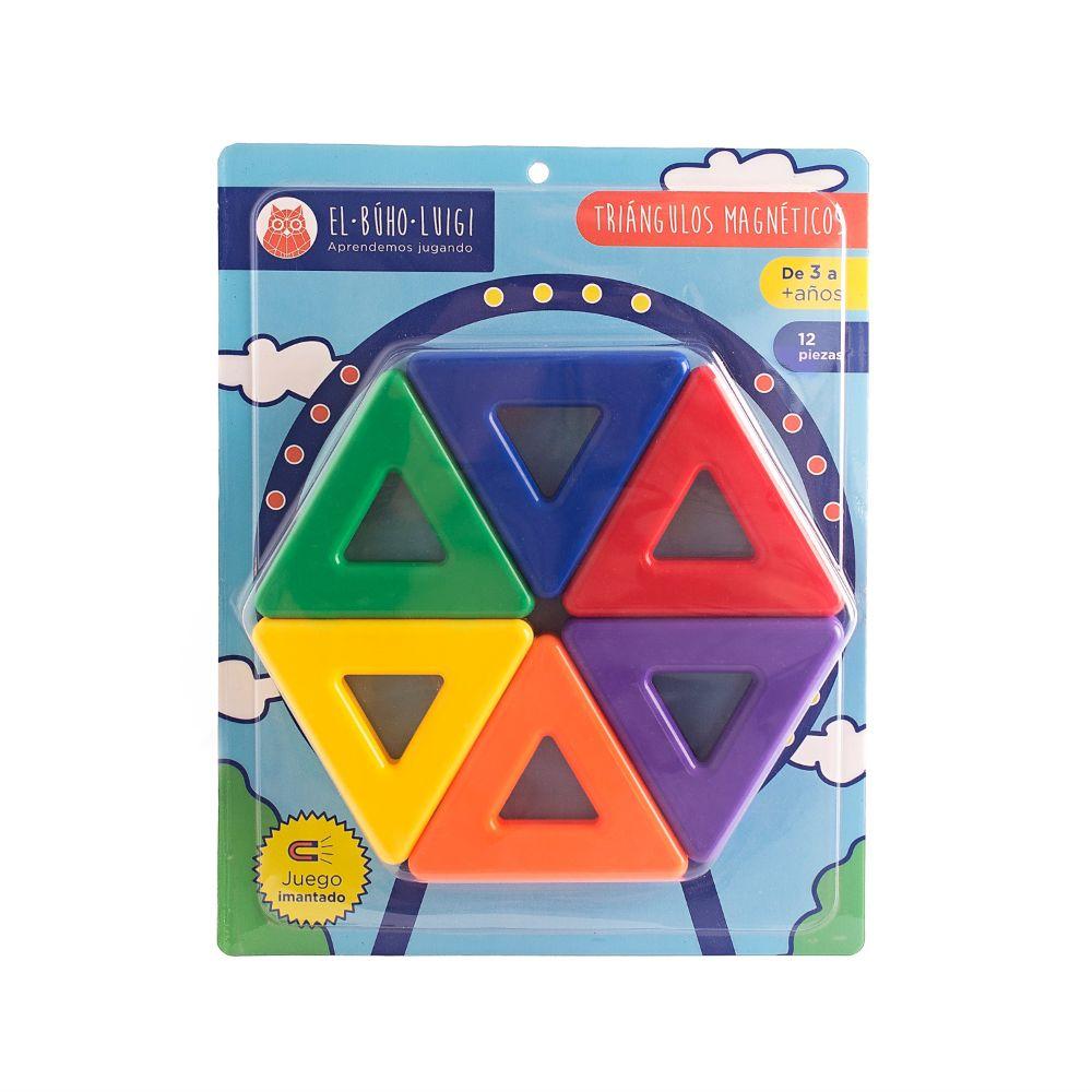 DE 3 AÑOS A MÁS  El juego Triángulos magnéticoses un material que contribuye al desarrollo de la inteligencia visoespacial y estimula el pensamiento constructivo, espacial y abstracto. Debido a que los niños también pueden inventar y construir sus propias figuras, también promueve la creatividad.  Contenido:  • 12 piezas.