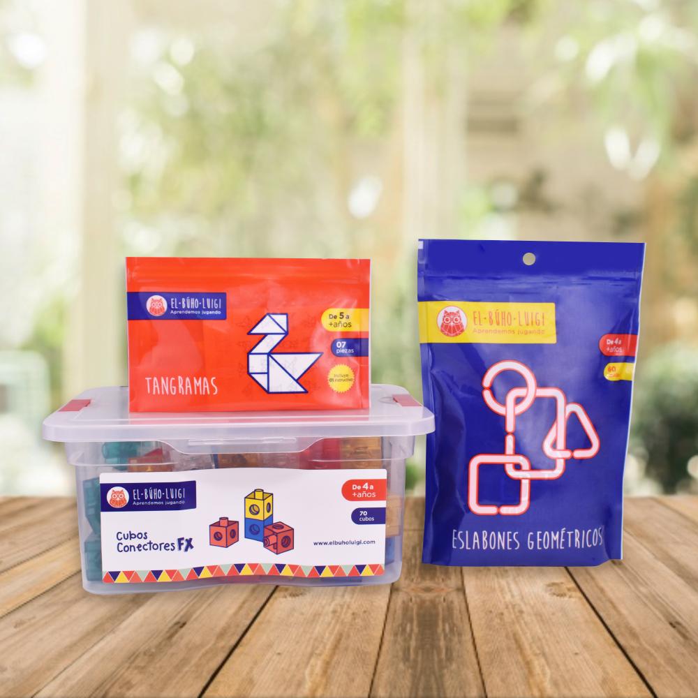 DE 4 AÑOS A MÁS  Este pack desarrolla en tu niñ@ la memoria, mejora la atención y concentración, promoviendo el desarrollo de la abstracción.  Incluye:  - Cubos conectores FX (70 piezas)  - Tangramas (7 piezas)  - Eslabones geométricas (60 piezas)