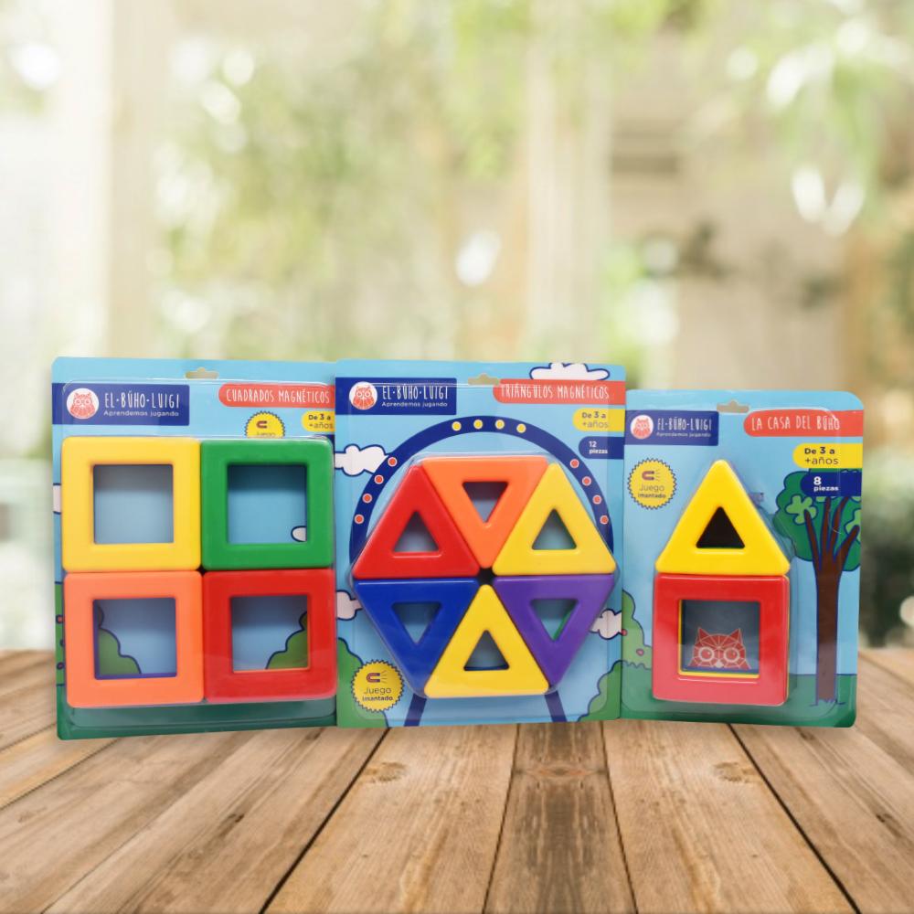 DE 3 AÑOS A MÁS  Este pack fomenta en tu niñ@ el desarrollo de sus habilidades para el aprendizaje de forma lúdica.  Incluye:  - Cuadrados magnéticos (12 piezas)  - Triángulos magnéticos (12 piezas)  - La casa del búho (08 piezas)