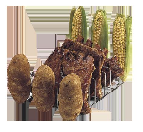 Hecho de alambre cromado, muy duradero. Diseñado para acomodar 3 bastidores de costillas y 6 papas o maíz. Resistente a la corrosión.