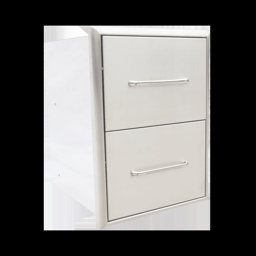Descripción:  Acero inoxidable 304.  Espacio útil para almacenamiento.  Cajones ideales para almacenar accesorios de la parrilla.  Gabinete completamente cerrado.