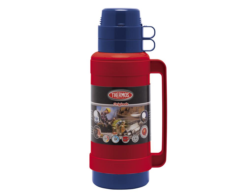 CARACTERÍSTICAS:  Exterior de plástico libre de BPA Ampolla de vidrio Mantiene caliente por 8 horas Mantiene frío por 24horas Incluye taza para servir líquidos No necesita abrir la tapa para servir No conserva olores
