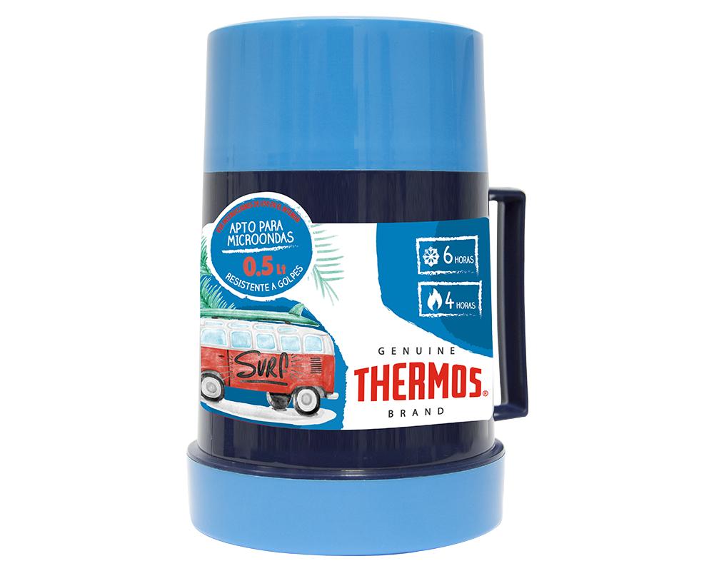 Características:   Capacidad: 500ML.   Material: Interior y exterior de plástico.   Aislamiento térmico con Poliuretano.   Apto para microondas   Ideal para la lonchera.   Conserva caliente (4 horas) y frío (6 horas)