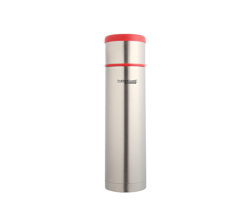 Características:  Capacidad: 500ml. Material: interior y exterior de acero inoxidable. Tapa exterior, se puede utilizar como taza. Tapa interior de medio giro. Sistema antiderrame. Conserva líquidos fríos (24 horas) y calientes (8 horas). No retiene olores