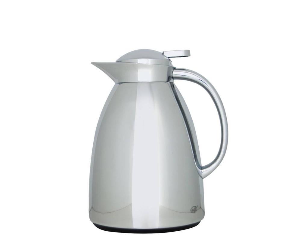Características:  Elegante jarra con ampolla de vidrio Capacidad: 1 litro - 8 tazas Conserva 12 horas caliente y 24 horas frío Diseño delicado   Práctico manejo, para servir con una sola mano No retiene olores No hermética