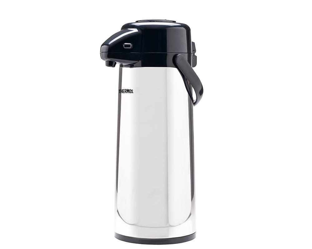 """Características:  Sistema """"Push Type Pump Pot"""" Ampolla de vidrio Asa movible para fácil transporte Parte superior removible para fácil lavado Base giratoria de 360 grados para servir fácilmente Líquidos fríos y calientes Mantiene líquidos calientes por 12 horas y fríos por 24 horas No retiene olores"""