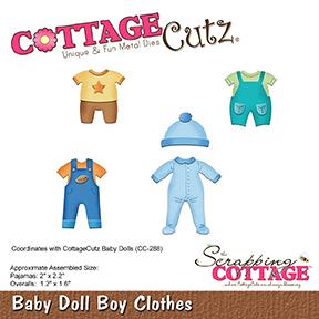 """Troquel """"Baby Doll Boy Clothes""""  Troquel de diseño exclusivo de Cottage Cutz, de excelente aleaciónque garantiza su durabilidad, buen corte, perfecto embossado y libre de corrosión. Es compatible con todas las marcas conocidas de troqueladoras como: WeR, Sizzix ,Ellison , CuttleBug, SpellBinders entre otras.  Corta papel, cartulina , foami, tela ,paño lenci, láminas de aluminio.  Equipo Scrapyart"""