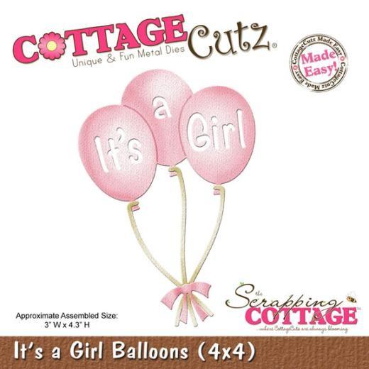 """Troquel """"Its a Girl Balloons 4x4""""  Troquel de diseño exclusivo de Cottage Cutz, de excelente aleaciónque garantiza su durabilidad, buen corte, perfecto embossado y libre de corrosión. Es compatible con todas las marcas conocidas de troqueladoras como: WeR, Sizzix ,Ellison , CuttleBug, SpellBinders entre otras.  Corta papel, cartulina , foami, tela ,paño lenci, láminas de aluminio.  Equipo Scrapyart"""