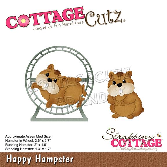 """Troquel """"Happy Hamster""""  Troquel de diseño exclusivo de Cottage Cutz, de excelente aleaciónque garantiza su durabilidad, buen corte, perfecto embossado y libre de corrosión. Es compatible con todas las marcas conocidas de troqueladoras como: WeR, Sizzix ,Ellison , CuttleBug, SpellBinders entre otras.  Corta papel, cartulina , foami, tela ,paño lenci, láminas de aluminio.  Equipo Scrapyart"""