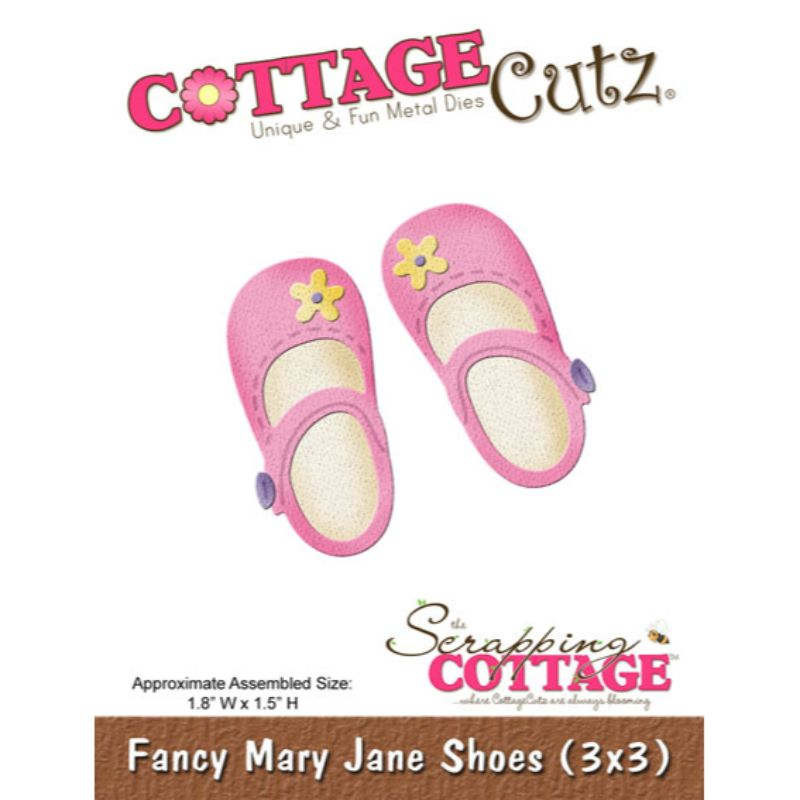 """Troquel """"Fancy Mary Jane Shoes 3x3""""  Troquel de diseño exclusivo de Cottage Cutz, de excelente aleaciónque garantiza su durabilidad, buen corte, perfecto embossado y libre de corrosión. Es compatible con todas las marcas conocidas de troqueladoras como: WeR, Sizzix ,Ellison , CuttleBug, SpellBinders entre otras.  Corta papel, cartulina , foami, tela ,paño lenci, láminas de aluminio.  Equipo Scrapyart"""