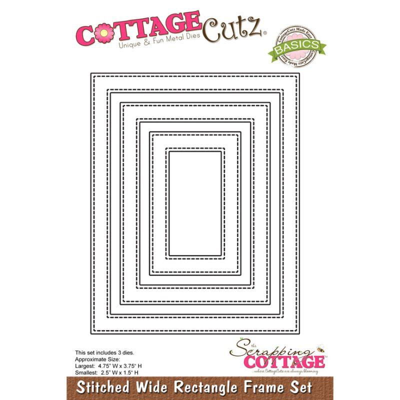 """Troquel """"Stitched Wide Rectangle Frame Set""""  Troquel de diseño exclusivo de Cottage Cutz, de excelente aleaciónque garantiza su durabilidad, buen corte, perfecto embossado y libre de corrosión. Es compatible con todas las marcas conocidas de roqueladoras como: WeR, Sizzix ,Ellison , CuttleBug, SpellBinders entre otras.  Corta papel, cartulina , foami, tela ,paño lenci, láminas de aluminio.  Equipo Scrapyart"""