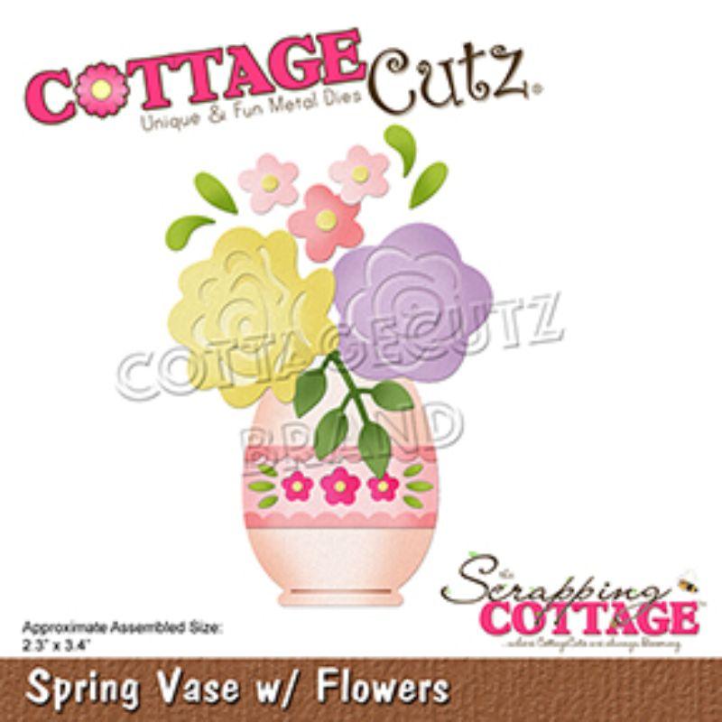 """Troquel """"Spring Vase With Flower""""  Troquel de diseño exclusivo de Cottage Cutz, de excelente aleaciónque garantiza su durabilidad, buen corte, perfecto embossado y libre de corrosión. Es compatible con todas las marcas conocidas de troqueladoras como: WeR, Sizzix ,Ellison , CuttleBug, SpellBinders entre otras.  Corta papel, cartulina , foami, tela ,paño lenci, láminas de aluminio.  Equipo Scrapyart"""