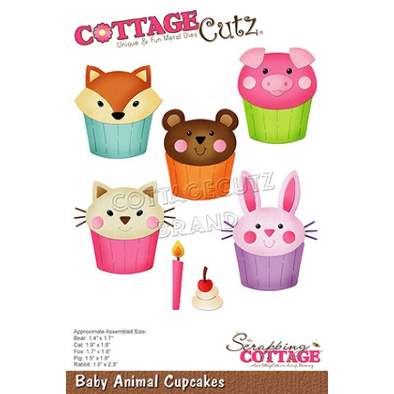 """Troquel """"Baby Animal Cupcakes""""  Troquel de diseño exclusivo de Cottage Cutz, de excelente aleaciónque garantiza su durabilidad, buen corte, perfecto embossado y libre de corrosión. Es compatible con todas las marcas conocidas de troqueladoras como: WeR, Sizzix ,Ellison , CuttleBug, SpellBinders entre otras.  Corta papel, cartulina , foami, tela ,paño lenci, láminas de aluminio.  Equipo Scrapyart"""
