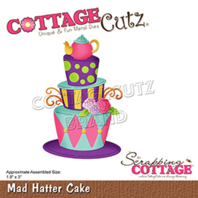 """Troquel """"Mad Hatter Cake""""  Troquel de diseño exclusivo de Cottage Cutz, de excelente aleaciónque garantiza su durabilidad, buen corte, perfecto embossado y libre de corrosión. Es compatible con todas las marcas conocidas de troqueladoras como: WeR, Sizzix ,Ellison , CuttleBug, SpellBinders entre otras.  Corta papel, cartulina , foami, tela ,paño lenci, láminas de aluminio.  Equipo Scrapyart"""