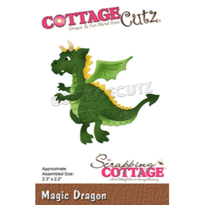 """Troquel """"Magic Dragon""""  Troquel de diseño exclusivo de Cottage Cutz, de excelente aleaciónque garantiza su durabilidad, buen corte, perfecto embossado y libre de corrosión. Es compatible con todas las marcas conocidas de troqueladoras como: WeR, Sizzix ,Ellison , CuttleBug, SpellBinders entre otras.  Corta papel, cartulina , foami, tela ,paño lenci, láminas de aluminio.  Equipo Scrapyart"""