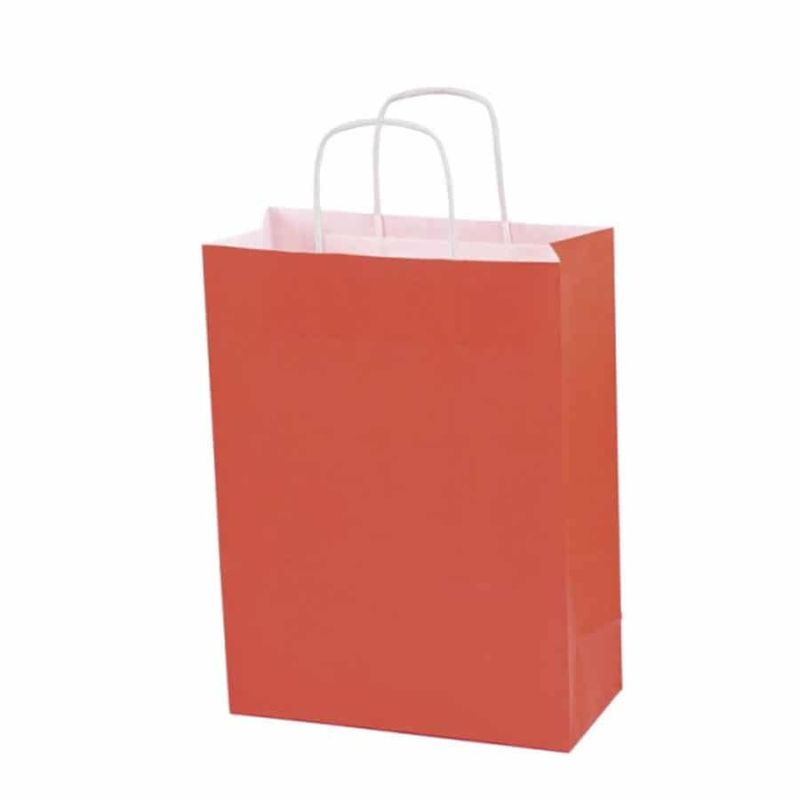 Bolsa de papel kraft roja  1 pqte. de 25 unidades  medidas 15x11x6cm