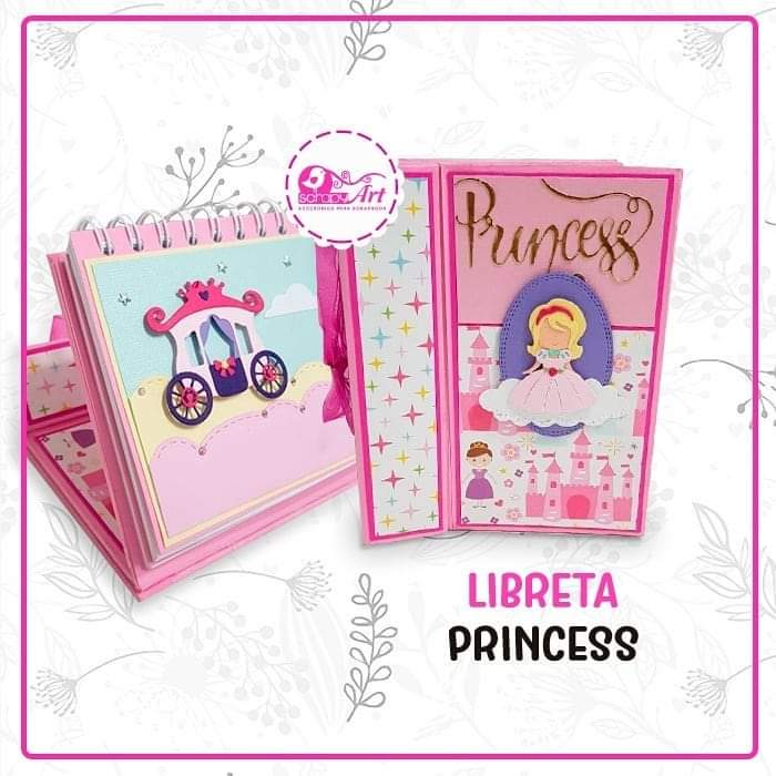 """Proyecto de Scrapbooking """"Libreta Princess"""" hazlo tu mismo, incluye materiales yvideo para que lo realices en la comodidiad de su hogar.  Kit listo para envio. (incluye todos los materiales a usar para su elaboracion)  Leenseñamos el Paso a Paso con nuesraProf: Lucy Garcia Chavez.  Aprenderas a usar la anilladora con un formato para libreta o calendario  Dimensión: 17x13cm  Consulta: 982878609."""