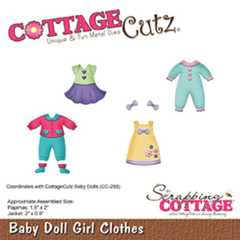 """Troquel """"Baby Doll Girl Clothes""""  Troquel de diseño exclusivo de Cottage Cutz, de excelente aleaciónque garantiza su durabilidad, buen corte, perfecto embossado y libre de corrosión. Es compatible con todas las marcas conocidas de troqueladoras como: WeR, Sizzix ,Ellison , CuttleBug, SpellBinders entre otras.  Corta papel, cartulina , foami, tela ,paño lenci, láminas de aluminio.  Equipo Scrapyart"""