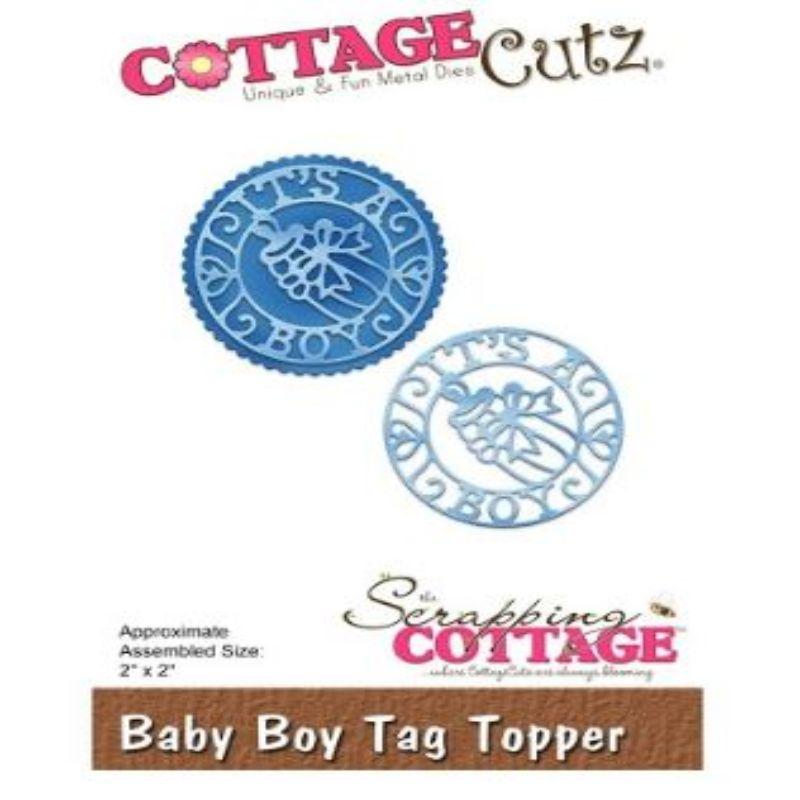 """Troquel """"Baby Boy Tag Topper""""  Troquel de diseño exclusivo de Cottage Cutz, de excelente aleaciónque garantiza su durabilidad, buen corte, perfecto embossado y libre de corrosión. Es compatible con todas las marcas conocidas de troqueladoras como: WeR, Sizzix ,Ellison , CuttleBug, SpellBinders entre otras.  Corta papel, cartulina , foami, tela ,paño lenci, láminas de aluminio.  Equipo Scrapyart"""