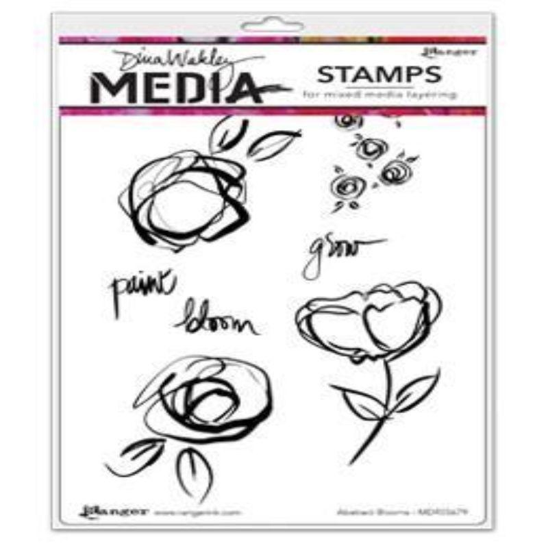 """Sellos Dina Wakley Media Cling Mount: Floraciones abstractas  Con el estilo característico de Dina, este juego de sellos incluye siete sellos de goma con soporte de goma roja profundamente grabada que se adhieren a cualquier bloque acrílico transparente.  La flor y las hojas garabateadas (abajo a la izquierda) miden aproximadamente 2 3/8 """"x 2 3/4"""".  El paquete contiene siete sellos en una hoja de 9 """"x 6""""."""