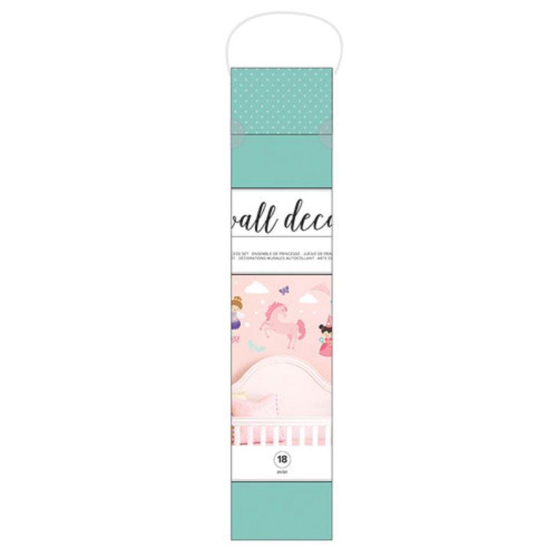 """Haga que la habitación de su hija sea perfecta para la princesa cuando la decore con las calcomanías de pared de vinilo Princess de American Crafts. El paquete incluye 18 piezas de cáscara y palo que miden de 1 """"x 1"""" a 14.5 """"x 14.8""""."""