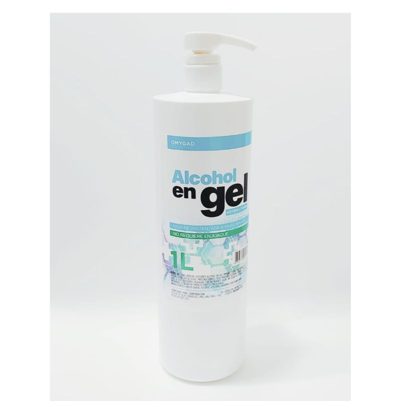 Alcohol en Gel en envase de 1 Lt.  Limpia y desinfecta instantáneamente las manos o cualquier parte del cuerpo sin usar agua y jabón.  Contiene glicerina y aloe vera para hidratar la piel.  Beneficiando a las personas con piel seca.  La formula a base de alcohol ayuda a combatir los gérmenes y bacterias comunes desinfectando la piel.  Ventas al mayor 982878609