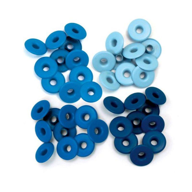 Pack 40 ojales (eyelets) anchos. Diámetro centro: 0.5 cm central. Cabeza: 1.3 cm.  Indicado para trabajos de scrapbooking y manualidades. Recomendable utilizar con Crop a Dile o Big Bite.