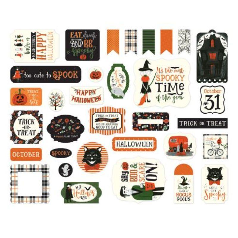 Ephemera Trick Or Trick  Contiene elementos referentes a Halloweens de Echo Park, ideales para añadir un toque de color a cualquiera de tus proyectos a realizar o crear.  Equipo Scrapyart