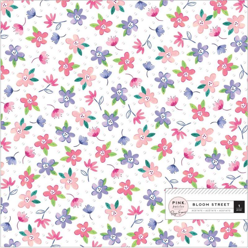 """Acetato con Diseños """"Bloom Street 7"""" 12x12  Acetato con diseño de flores de Page Evans , de excelente calidad y durabilidad.  Equipo Scrapyart"""