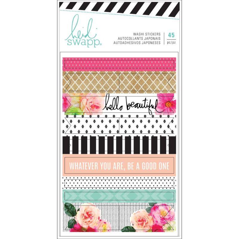 """Washi Tape """"Hello Beautiful"""" de Heidi Swapp  Decora tu agenda con los Washi Tape de Heidi Swapp. En el paquete se incluyen 45 pegatinas washi en 3 hojas que miden 3.7 """"x 5.75"""". El conjunto incluye patrones con flores, diamantes, puntos, rayas y las expresiones """"hola hermosa"""" y """"lo que seas, sé bueno"""".  Equipo Scrapyart"""