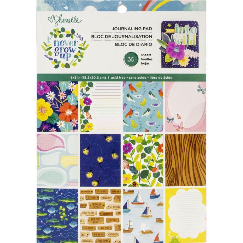 """Block de Papel """" Never Grow Up """" 6x8  Deje volar su imaginación cuando esté creando tarjetas con la colección Never Grow Up de American Crafts.Incluye 36 hojas de papel de una cara en 18 diseños. Te encantarán las imágenes de peces, flores, pájaros, árboles, veleros y más. Los papeles están diseñados por Shimelle.  Equipo Scrapyart"""