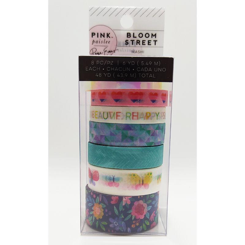 """Washi Tape """"Bloom Street""""  Decora tus páginas, tarjetas, diarios y más con el juego de cintas Washi de la colección Horizon con detalles laminados con foil rosa. El paquete incluye 8 rollos de cinta washi de 6 yardas cada uno.  Equipo Scrapyart"""