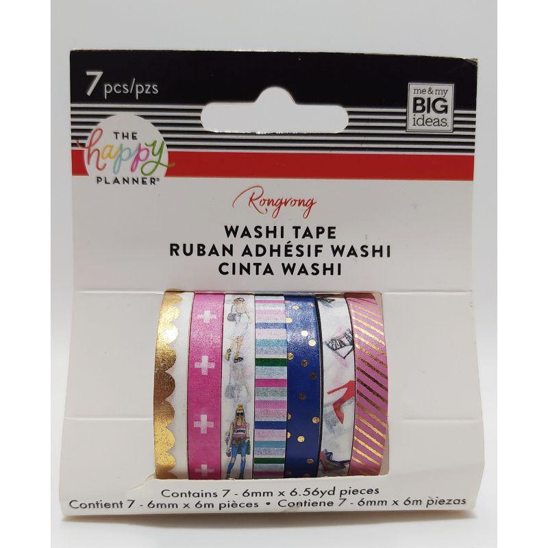 """Washi Tape """"Colorful""""  ¡La cinta Washi facilita la decoración de su agenda o de cualquier otro proyecto en el que esté trabajando! Este paquete contiene siete rollos de 6.56yd de cinta washi de 6 mm de ancho en varios diseños.  Equipo Scrapyart"""