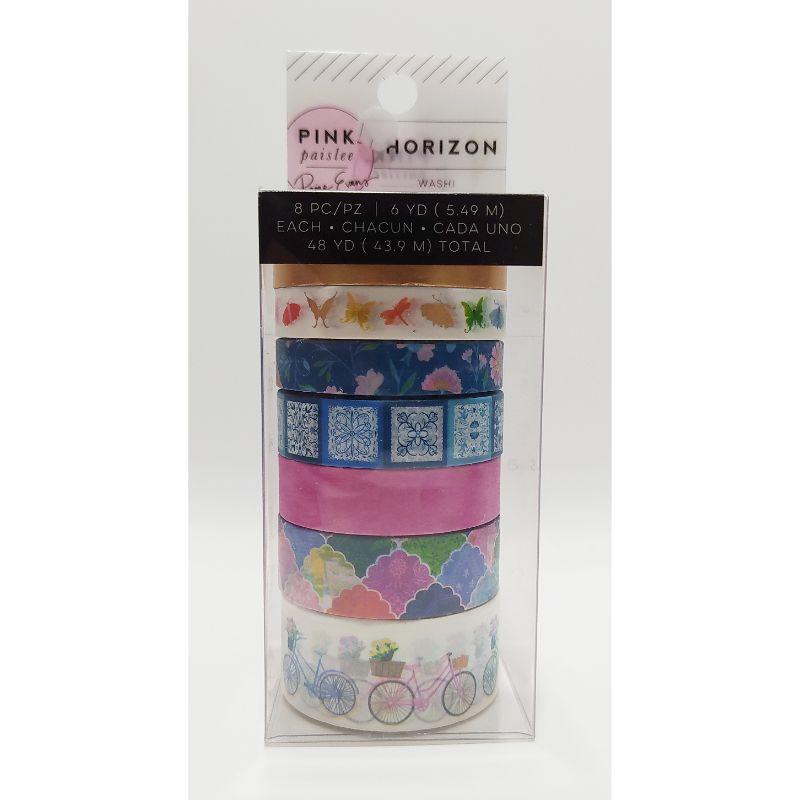 """Washi Tape """"Horizon""""  Decora tus páginas, tarjetas, diarios y más con el juego de cintas Washi de la colección Horizon con detalles laminados con foil rosa. El paquete incluye 8 rollos de cinta washi de 6 yardas cada uno.  Equipo Scrapyart"""