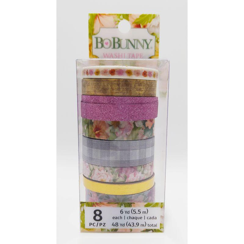 """Washi Tape """"Garden Grove""""  Acentúe sus proyectos de manualidades en papel de primavera y Pascua con la cinta Washi con detalles en foil de la colección """"Garden Grove"""" de BoBunny. El paquete incluye 8 rollos de cinta washi que cada uno tiene 6 yardas de cinta (48 yardas en total). Los patrones incluyen flores, cuadros y más.  Equipo Scrapyart"""